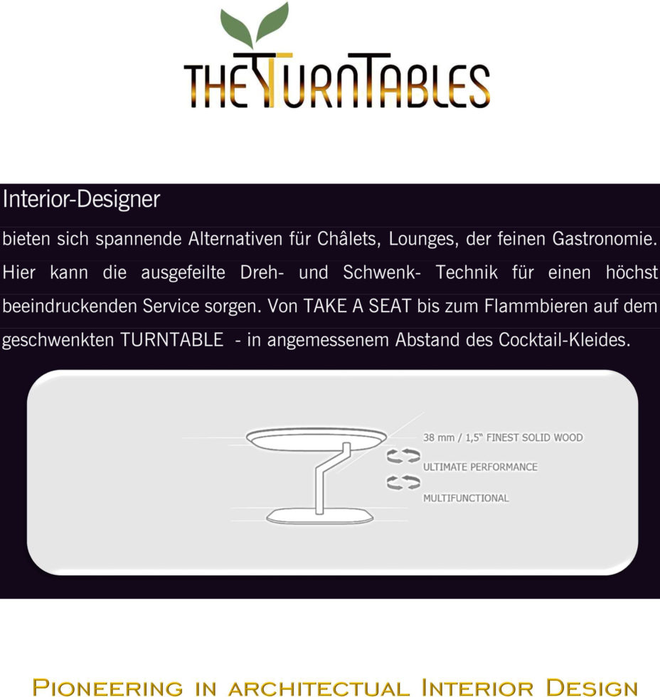 THE-TURNTABLES advantages for Designers
